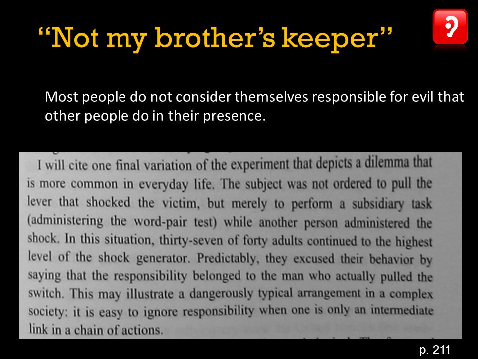 Not my brother's keeper