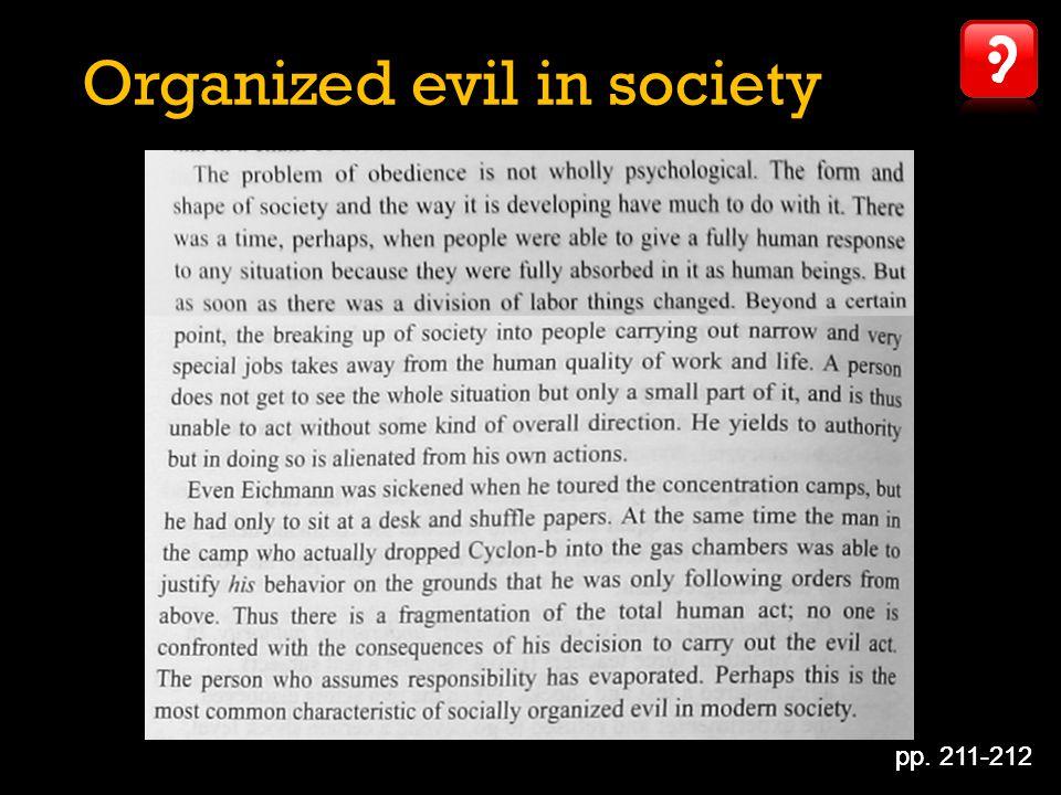 Organized evil in society