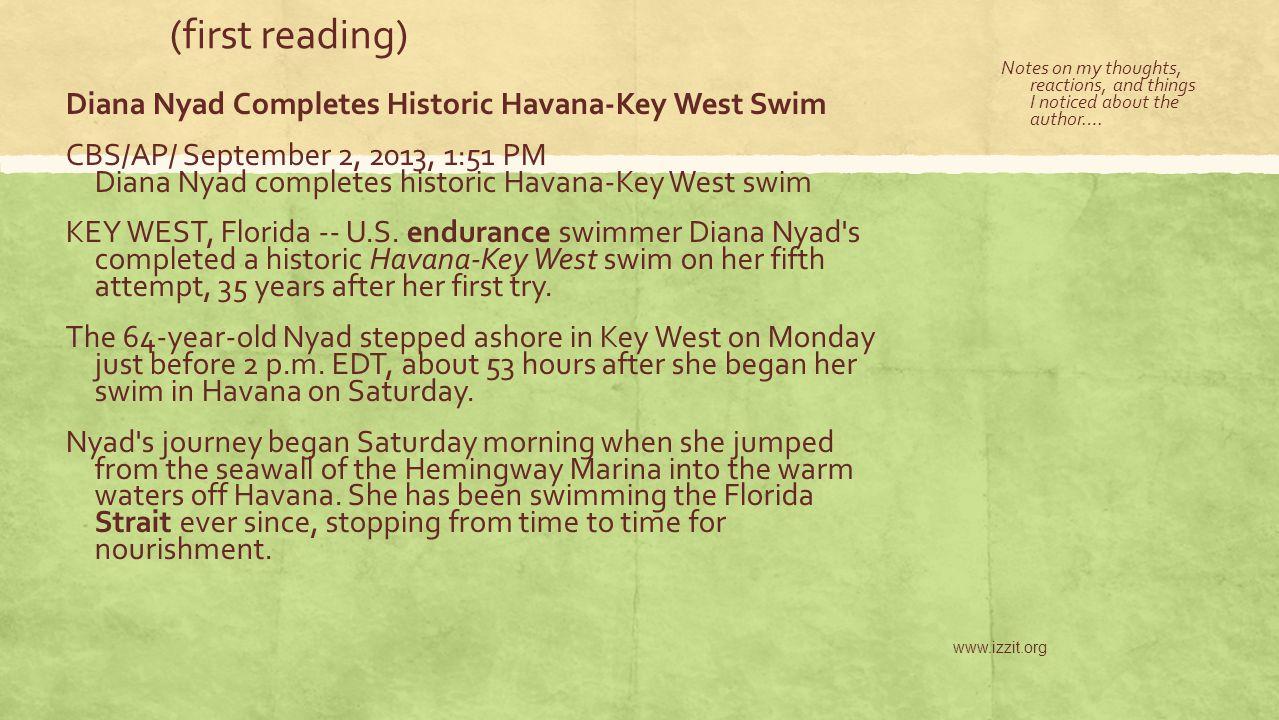 (first reading) Diana Nyad Completes Historic Havana-Key West Swim