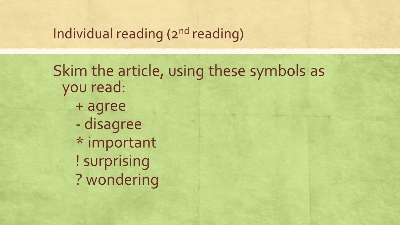 Individual reading (2nd reading)
