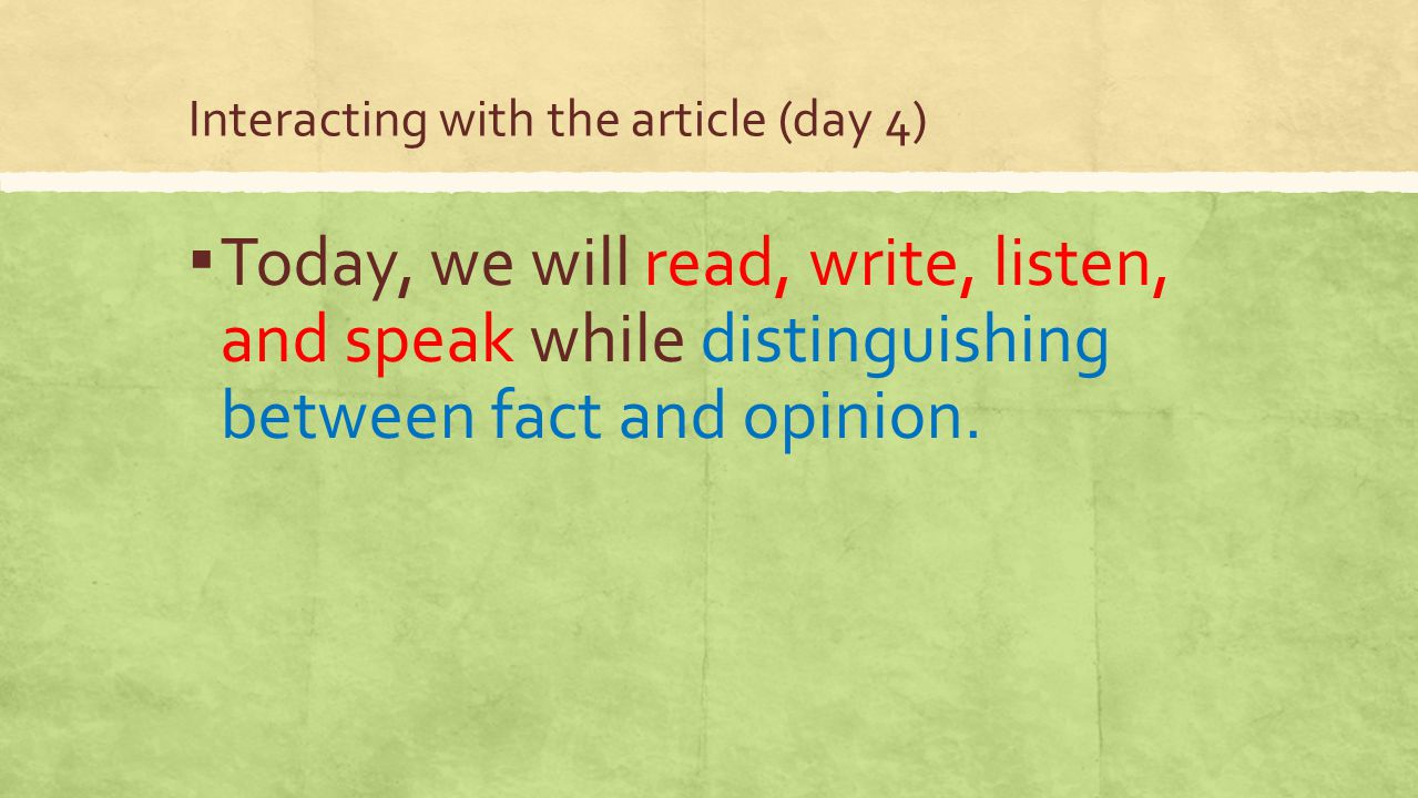 Interacting with the article (day 4)