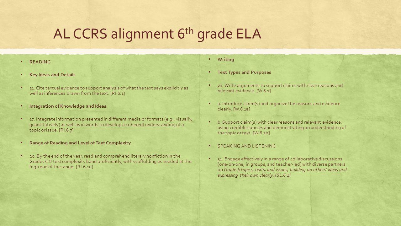 AL CCRS alignment 6th grade ELA