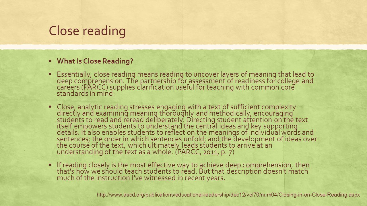 Close reading What Is Close Reading