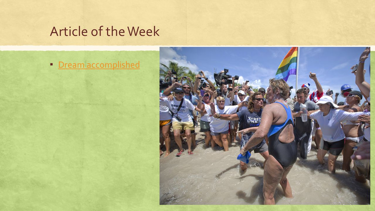 Article of the Week Dream accomplished