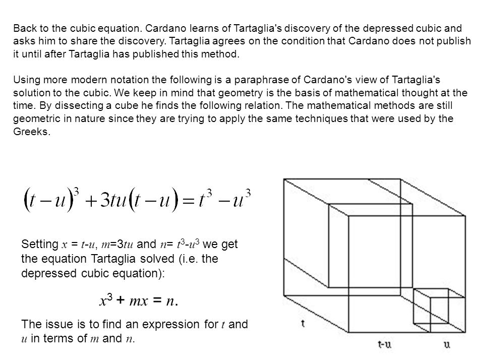 Back to the cubic equation