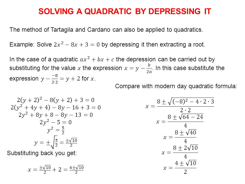 SOLVING A QUADRATIC BY DEPRESSING IT