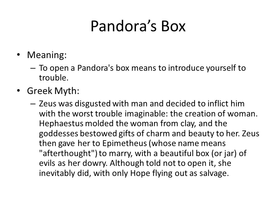Pandora's Box Meaning: Greek Myth: