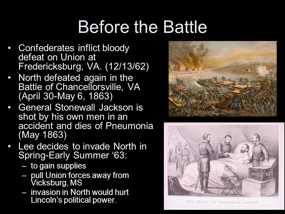 Before the Battle Confederates inflict bloody defeat on Union at Fredericksburg, VA. (12/13/62)