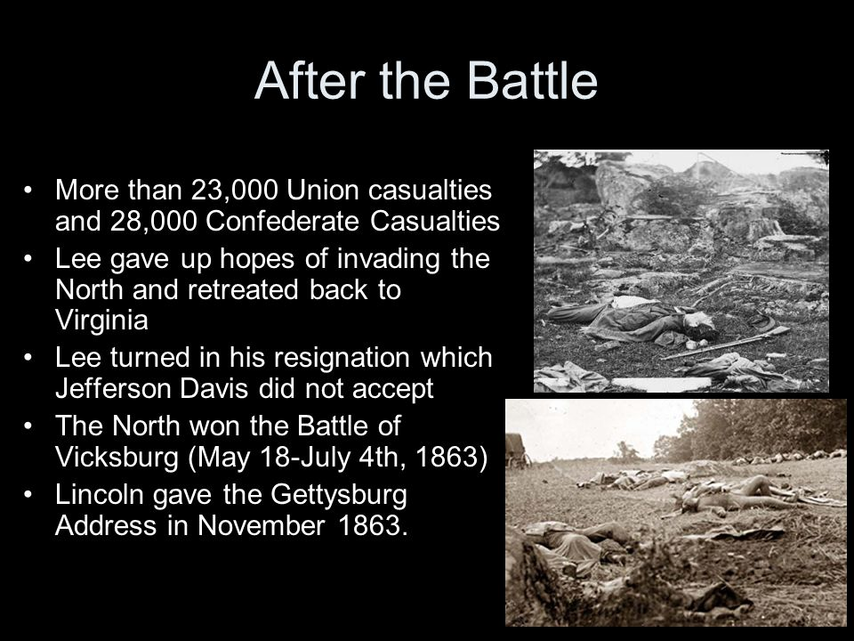 After the Battle More than 23,000 Union casualties and 28,000 Confederate Casualties.