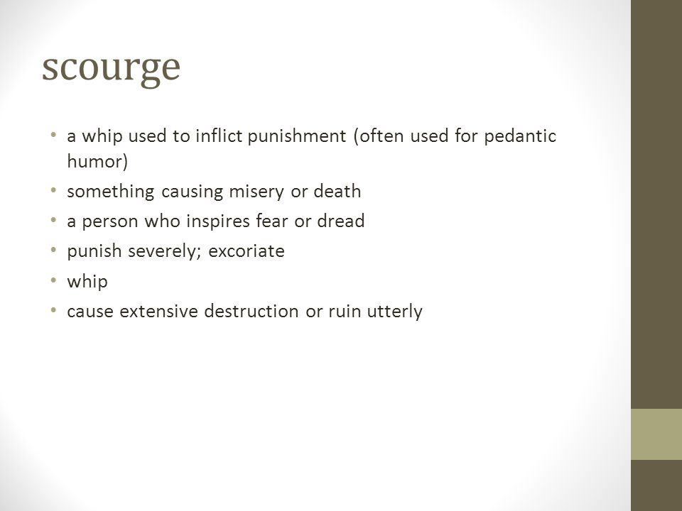 scourge a whip used to inflict punishment (often used for pedantic humor) something causing misery or death.