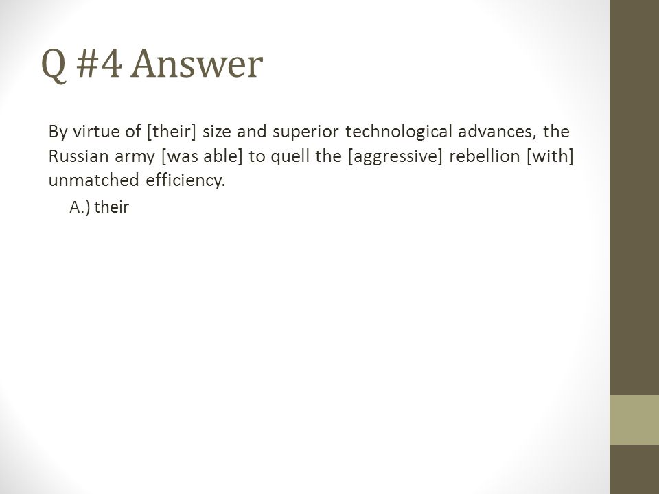 Q #4 Answer
