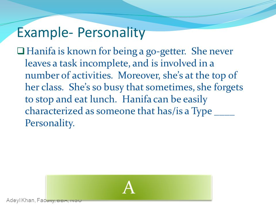 A Example- Personality