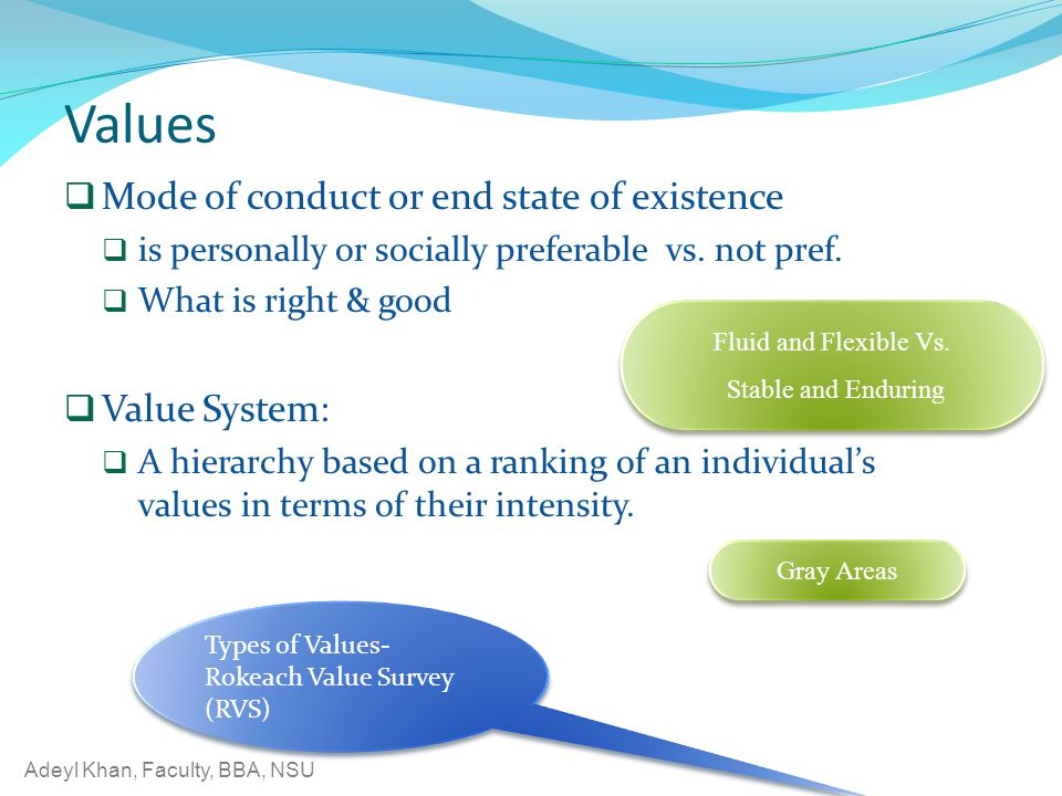 Values Mode of conduct or end state of existence Value System: