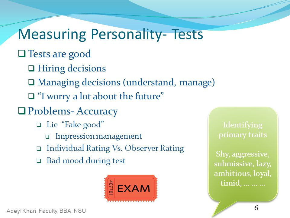 Measuring Personality- Tests