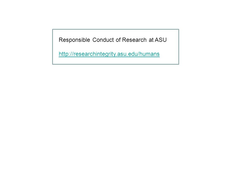 Responsible Conduct of Research at ASU
