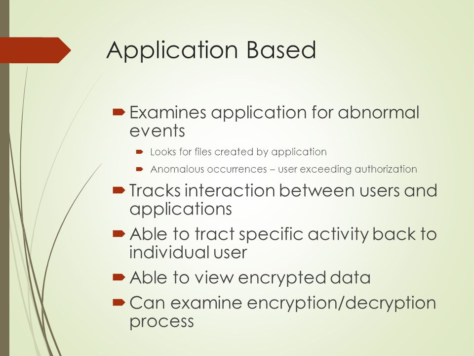 Application Based Examines application for abnormal events