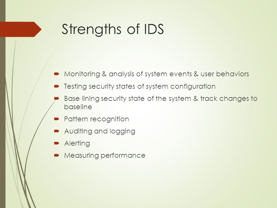 Strengths of IDS Monitoring & analysis of system events & user behaviors. Testing security states of system configuration.