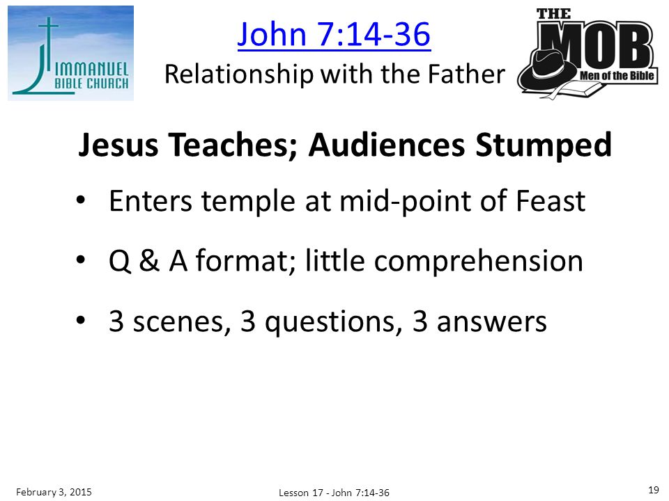 Jesus Teaches; Audiences Stumped