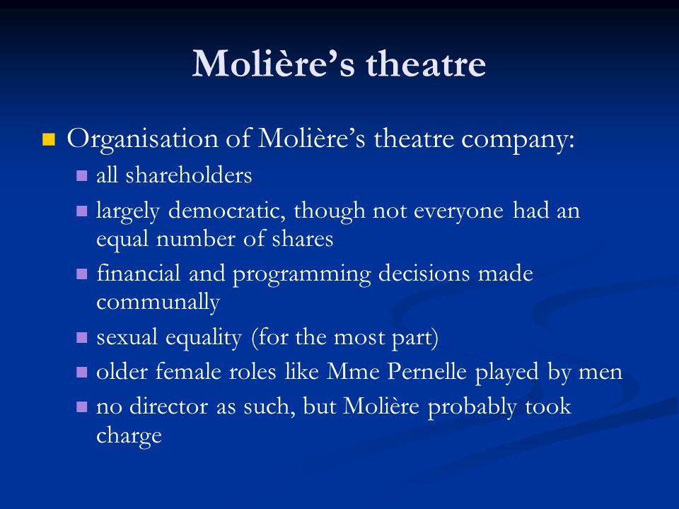 Molière's theatre Organisation of Molière's theatre company: