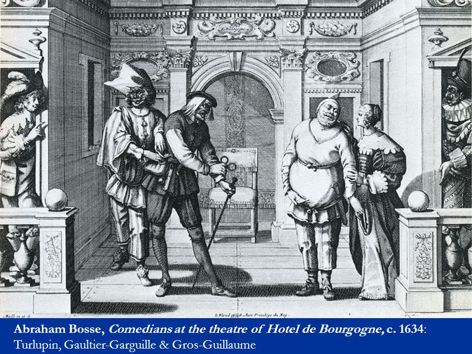 Abraham Bosse, Comedians at the theatre of Hotel de Bourgogne, c. 1634: