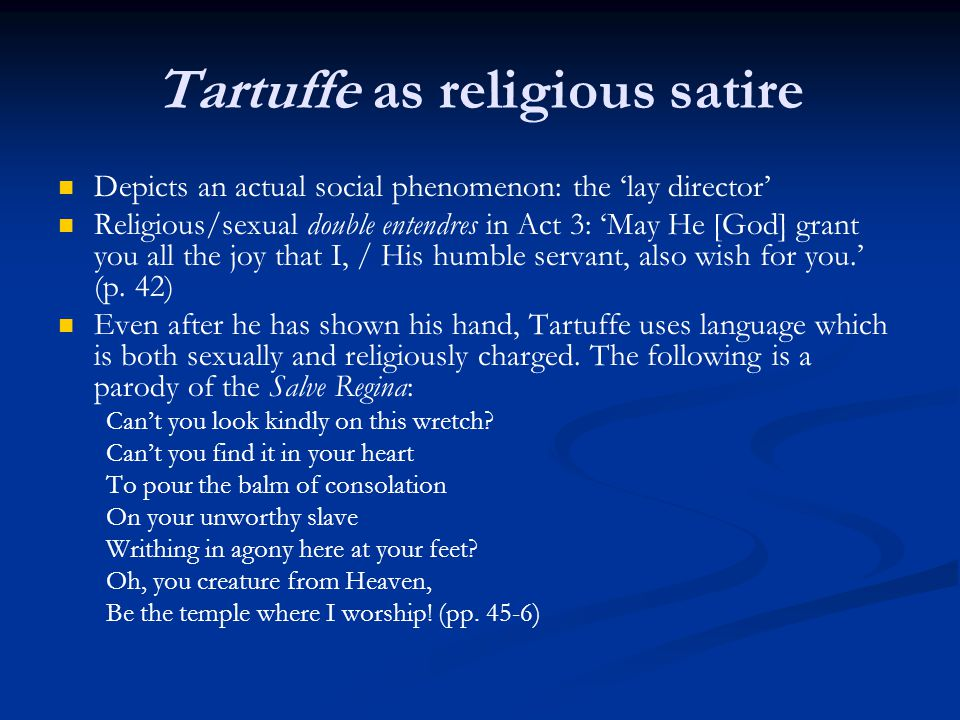 Tartuffe as religious satire