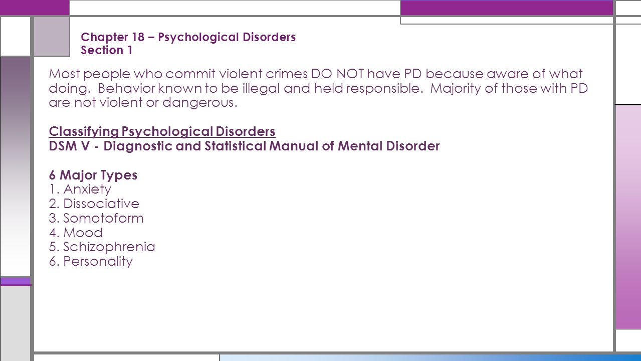 Chapter 18 – Psychological Disorders Section 1