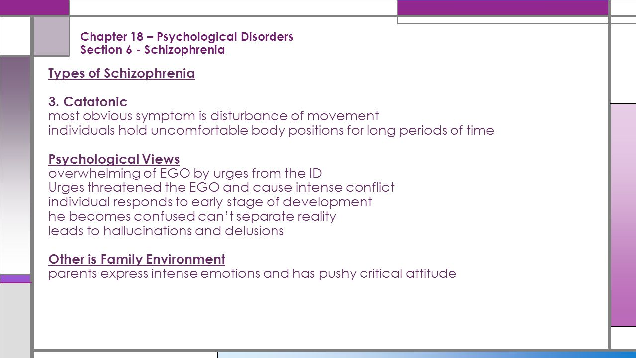 Chapter 18 – Psychological Disorders Section 6 - Schizophrenia
