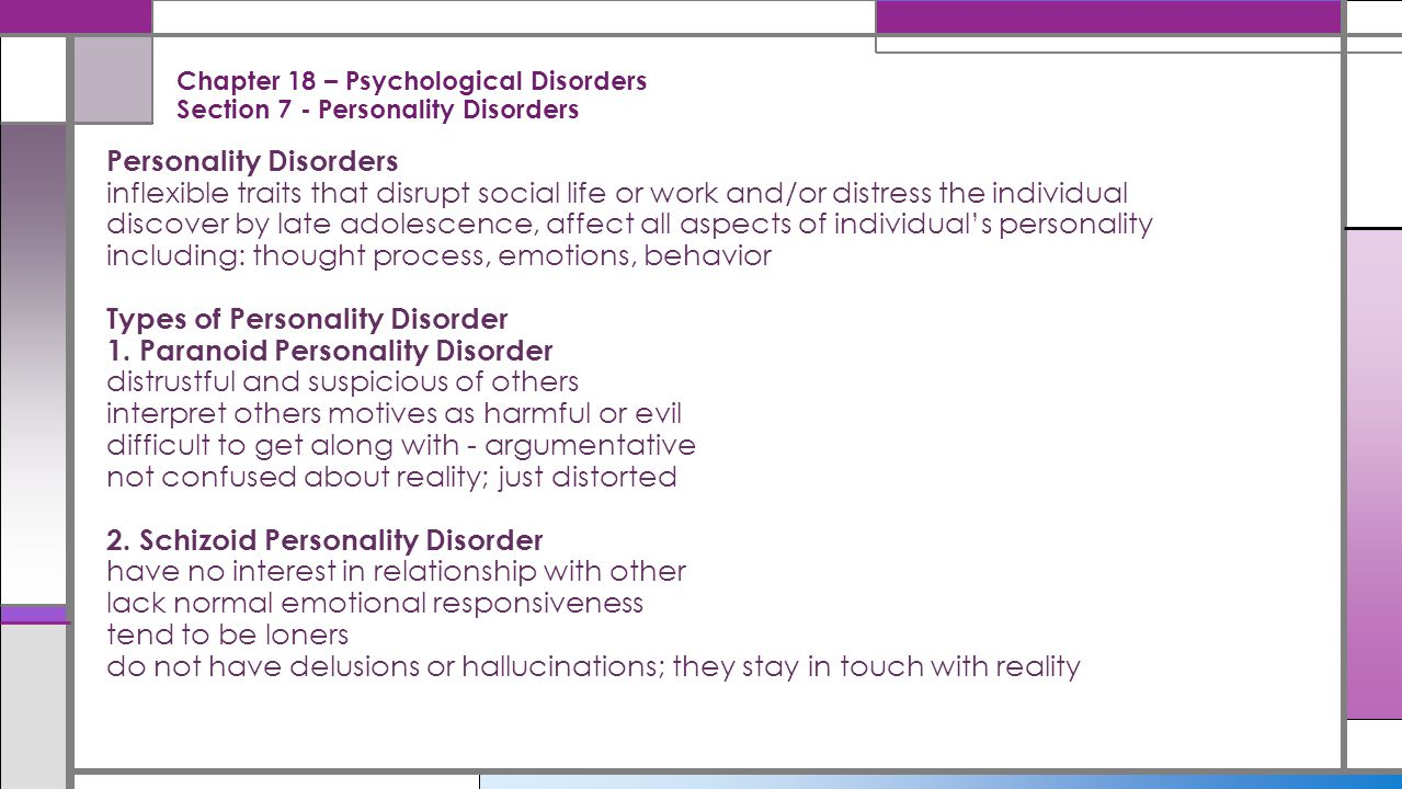 types of psychological disorders Types of disorders the following is a list of the different types of disorders: anxiety disorder panic disorder obsessive-compulsive disorder (ocd) bipolar disorder disordered eating post-traumatic stress disorder (ptsd.