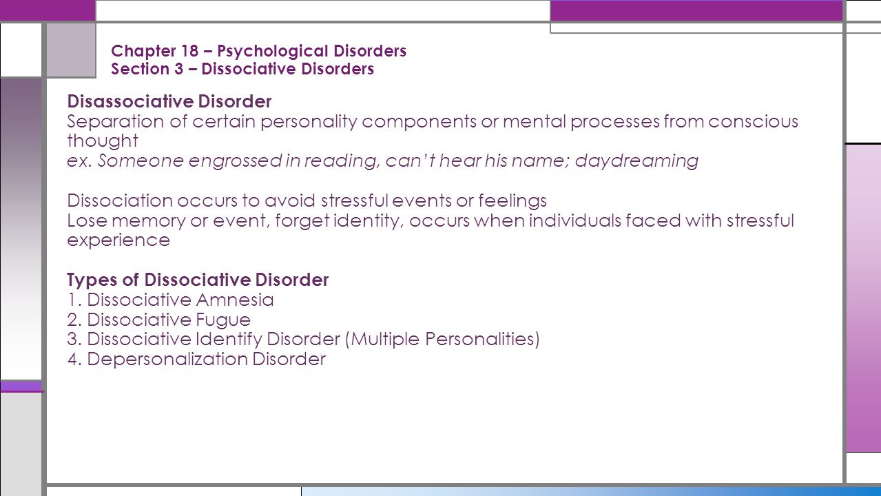 Chapter 18 – Psychological Disorders