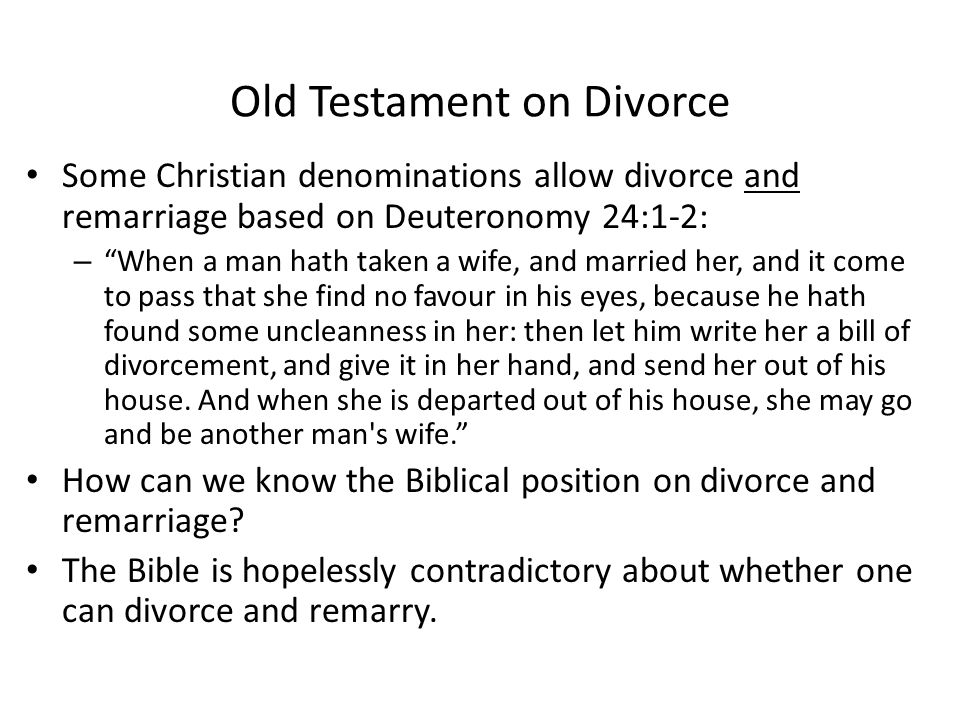 Old Testament on Divorce