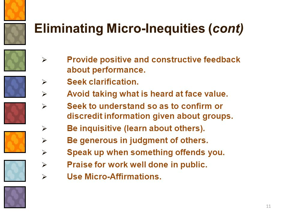 Eliminating Micro-Inequities (cont)