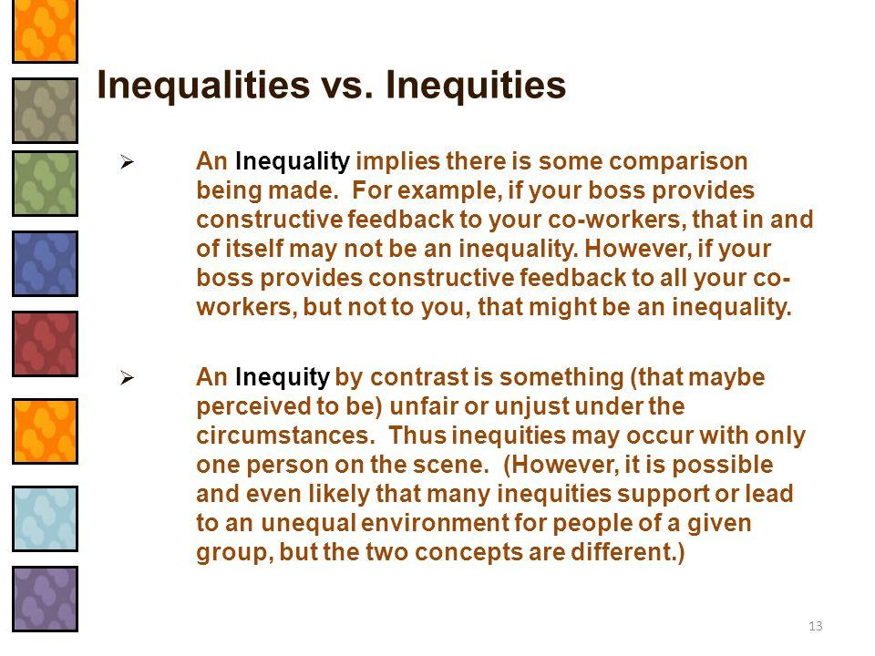 Inequalities vs. Inequities