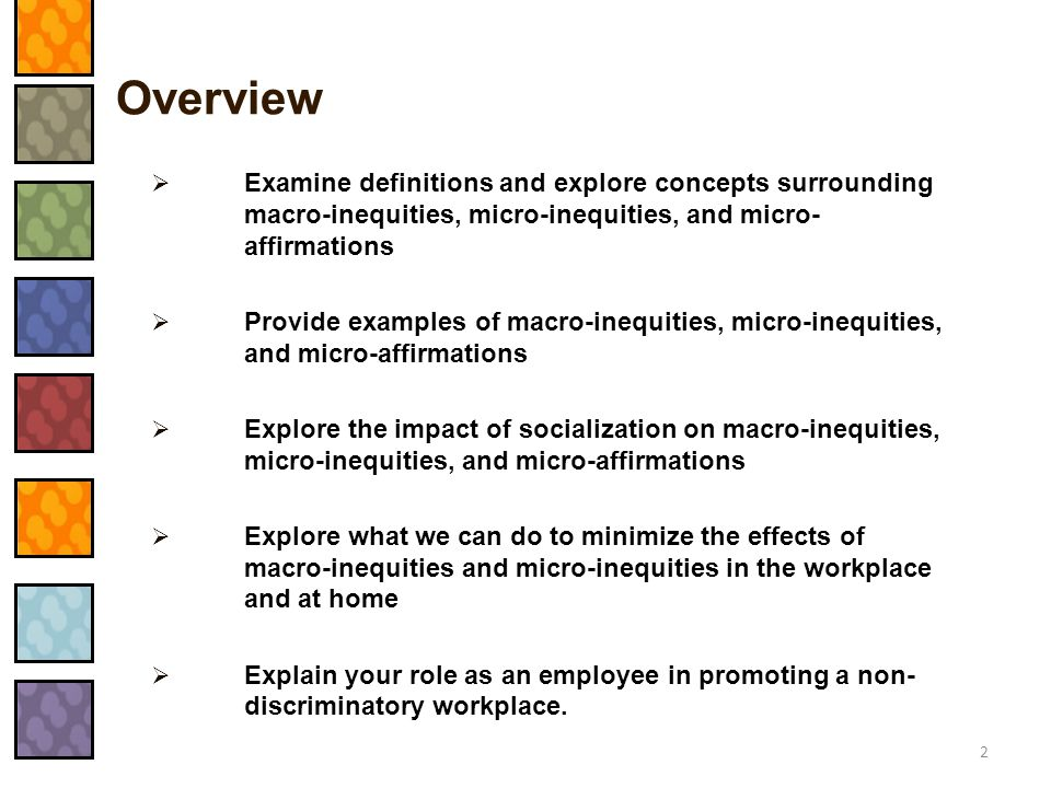 Overview Examine definitions and explore concepts surrounding macro-inequities, micro-inequities, and micro-affirmations.