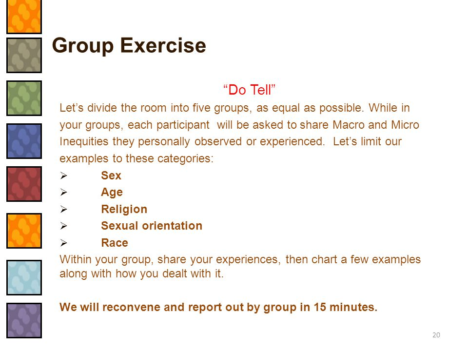 Group Exercise Do Tell