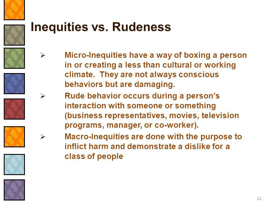 Inequities vs. Rudeness