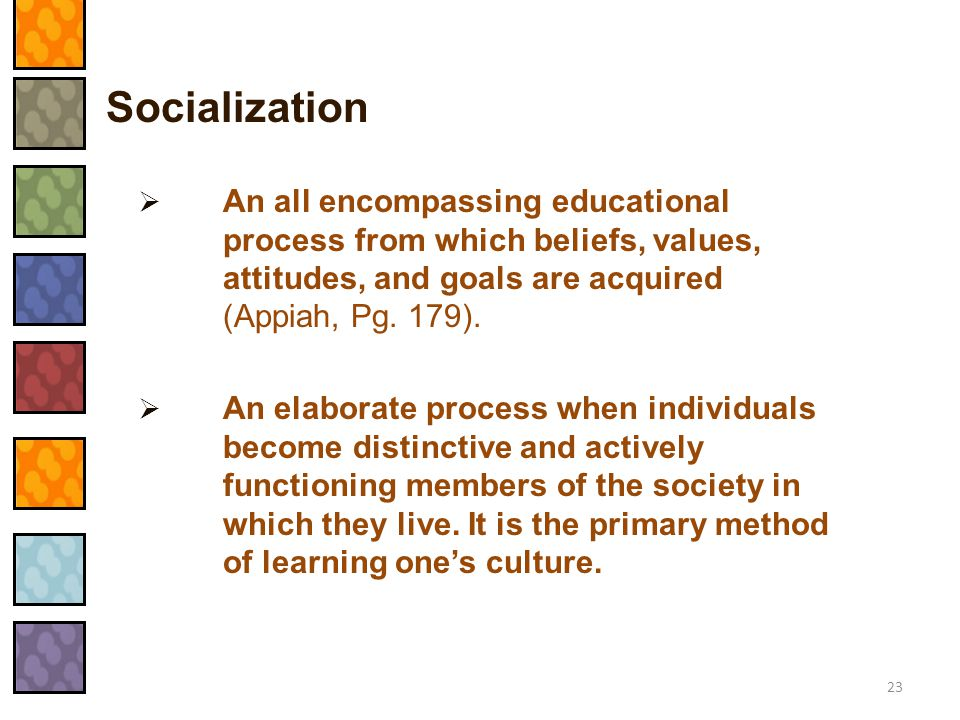 Socialization An all encompassing educational process from which beliefs, values, attitudes, and goals are acquired (Appiah, Pg. 179).