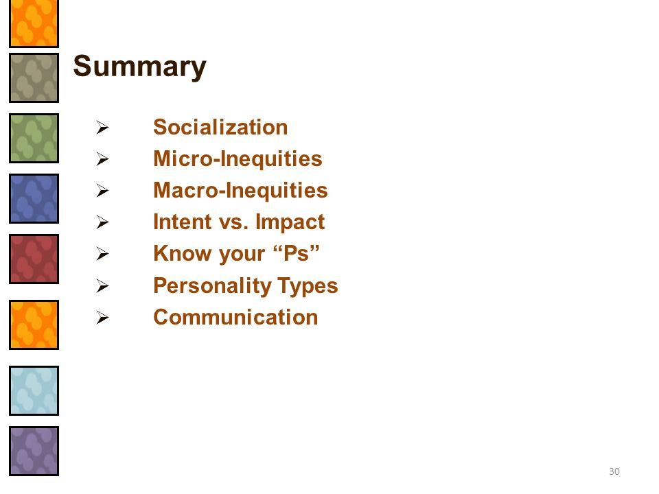 Summary Socialization Micro-Inequities Macro-Inequities