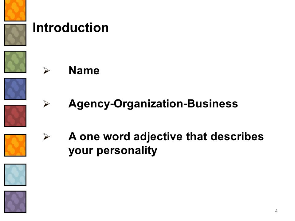 Introduction Name Agency-Organization-Business