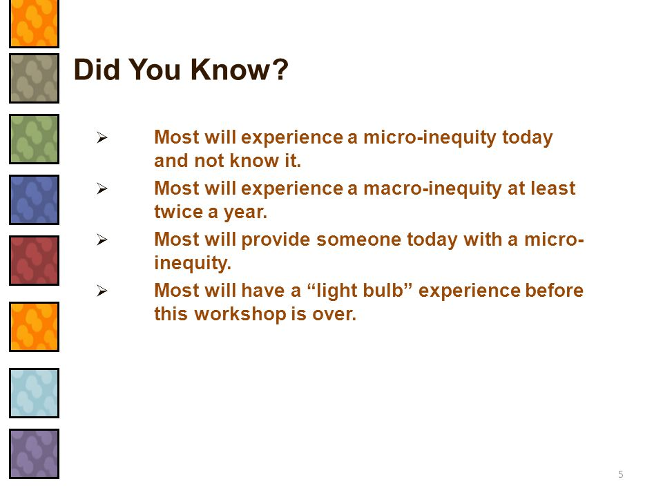 Did You Know Most will experience a micro-inequity today and not know it. Most will experience a macro-inequity at least twice a year.