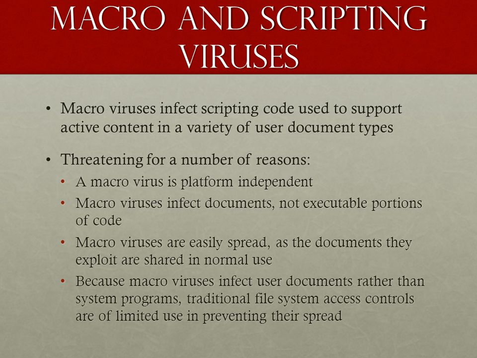 Macro and scripting viruses