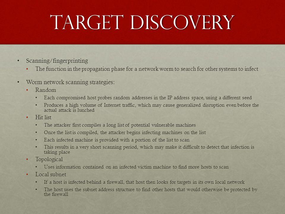 Target discovery Scanning/fingerprinting