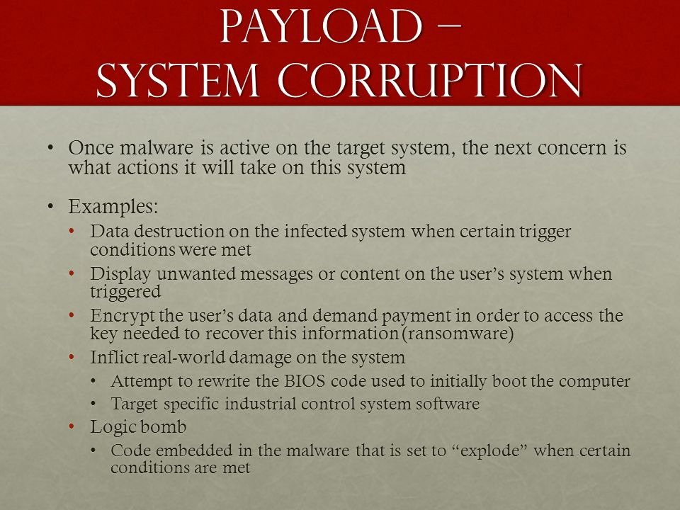 Payload – system corruption
