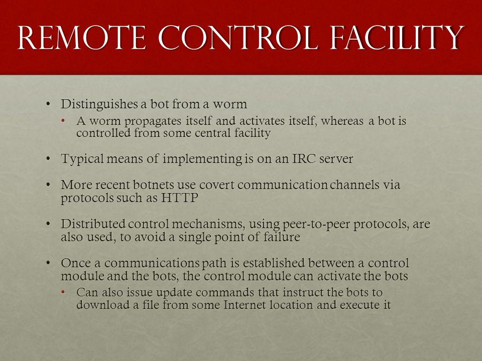 Remote control facility