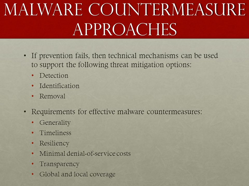 Malware countermeasure approaches