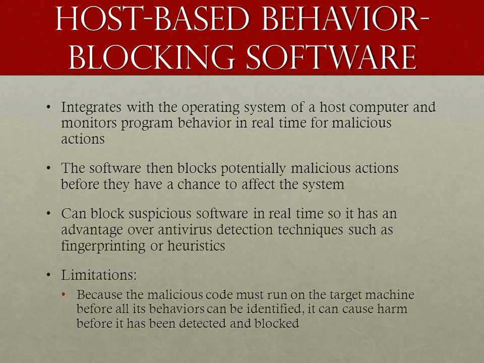 Host-based behavior-blocking software