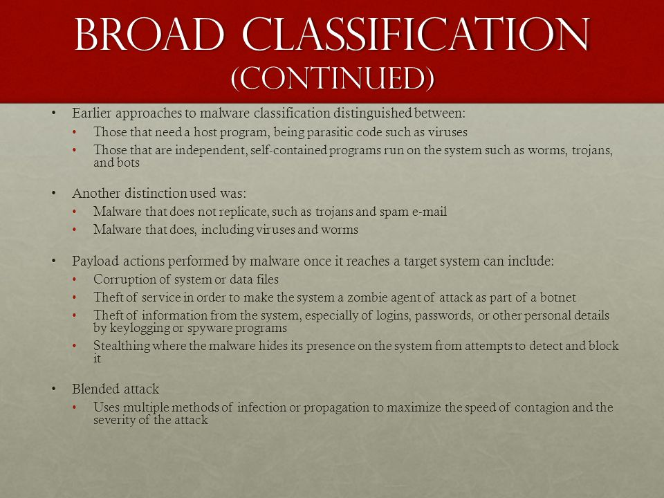 Broad classification (continued)