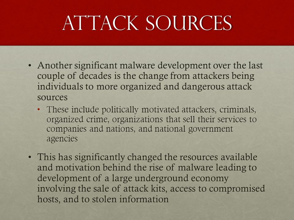 Attack sources