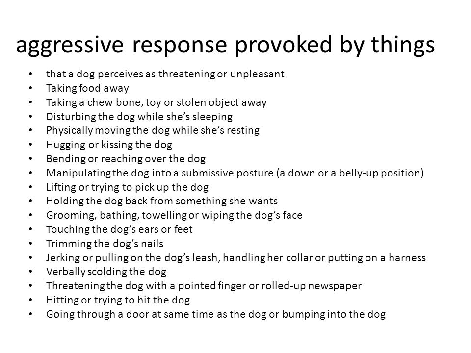 aggressive response provoked by things