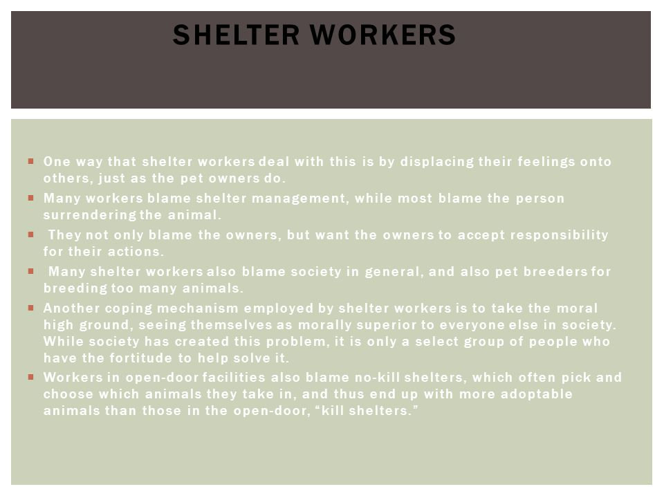 Shelter Workers One way that shelter workers deal with this is by displacing their feelings onto others, just as the pet owners do.