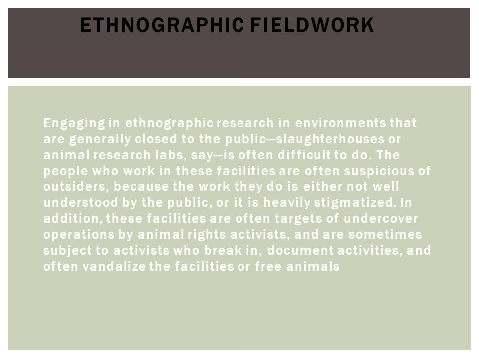 Ethnographic Fieldwork